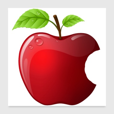 Icon Icon red apple with 2 leaves shiny - Poster 24 x 24 (60x60 cm)