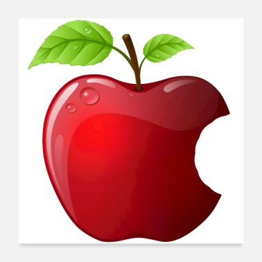 Shiny Icon red apple with 2 leaves shiny - Poster