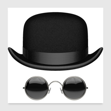 Hat and glasses - Poster 24 x 24 (60x60 cm)