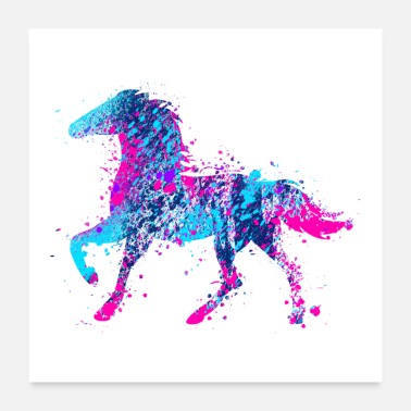 Horseman Horse water color pink blue - Poster 24 x 24 (60x60 cm)