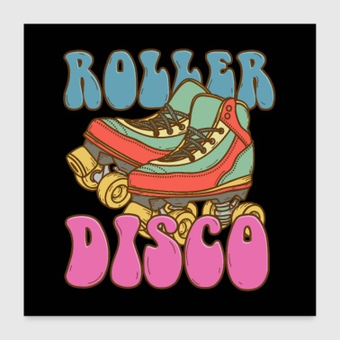 Roller Skates Rouleau Disco Skater Retro Poster - Poster 60 x 60 cm