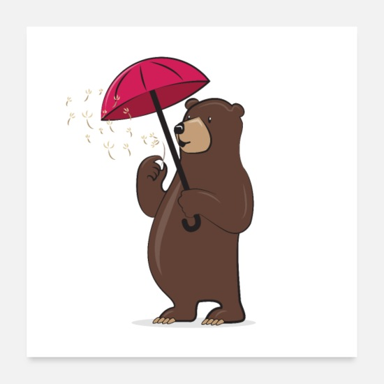Sopportare Poster - Bear With Dandelion And Umbrella - Poster bianco