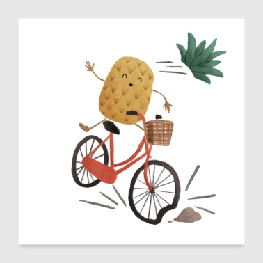 Ananas fiets - Poster 60x60 cm