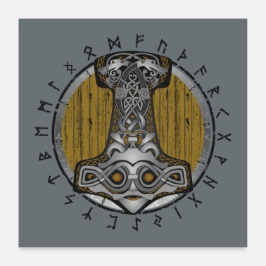 Shield Thor hammer Mjolnir on the shield - Poster 24 x 24 (60x60 cm)