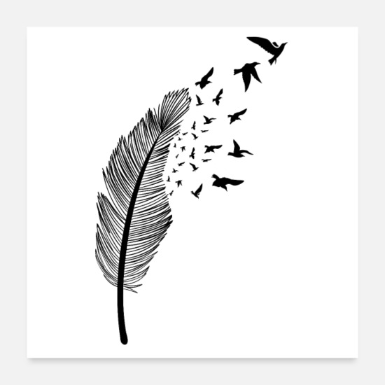 Feather Posters - Feather and bird - Posters white