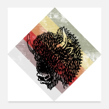 Horns Buffalo, buffalo head, bull, horns, bison - Poster 24 x 24 (60x60 cm)