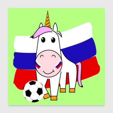Unicorn Violetta plays football for Russia - Poster 24 x 24 (60x60 cm)