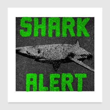 Great white shark ocean fish - Poster 24 x 24 (60x60 cm)