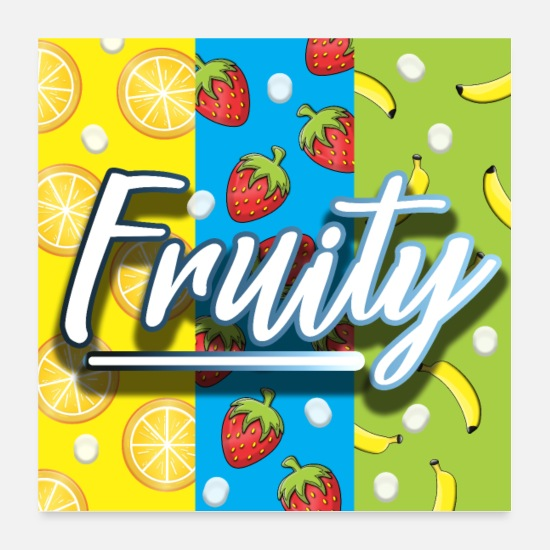 Typo Collection Poster - Fruity Früchte Sommerlaune - Poster Weiß