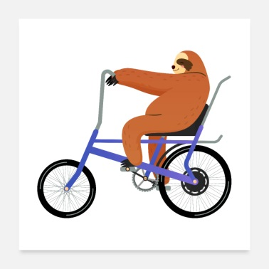 Vehicle Sloth Riding On Retro Vintage Bicycle - Poster