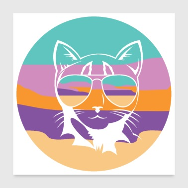 Cat tomcat kitten kitty pet gift meow - Poster 24 x 24 (60x60 cm)