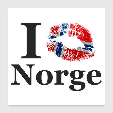 Country I KISS Norge (favorite country Norway) - Poster 24 x 24 (60x60 cm)