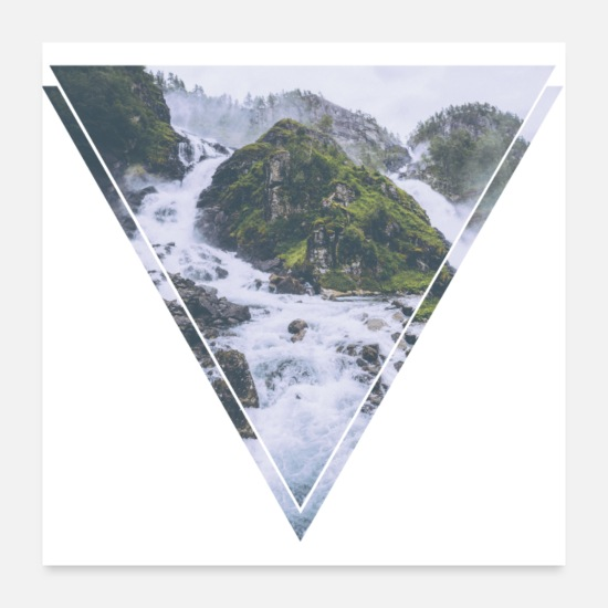 Gift Idea Posters - Mystic waterfall triangle hipster design - Posters white