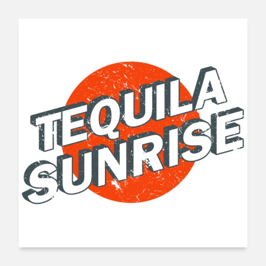 Alcohol Posters - Tequila Sunrise Reto Vintage Logo - Posters white