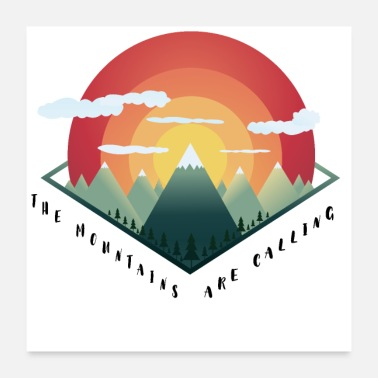 Mountain Bike Mountain Bike Climbing Snowboard Skiing Nature Gift - Poster 24 x 24 (60x60 cm)