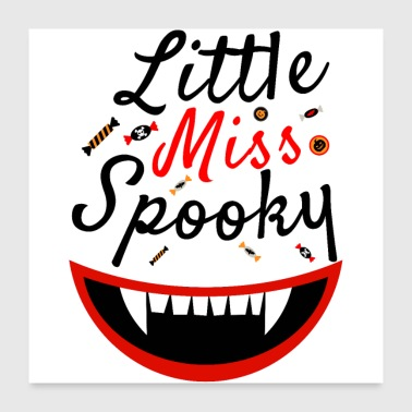 Little Miss Spooky - Dents de vampire de citrouille d'Halloween - Poster 60 x 60 cm