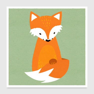 Little fox in paper look - Poster 24 x 24 (60x60 cm)