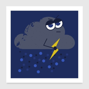 I come with the rain - cloud - lightning - thunderstorm - Poster 24 x 24 (60x60 cm)