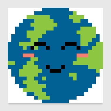 Pixel Pixelated Grinning Earth - Gift Idea - Poster 24 x 24 (60x60 cm)