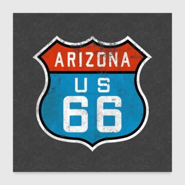 Route 66 Arizona Retro Sign United States America Souvenir - Poster 24 x 24 (60x60 cm)