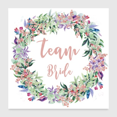 Marry Team Bride Floral - Poster 24 x 24 (60x60 cm)