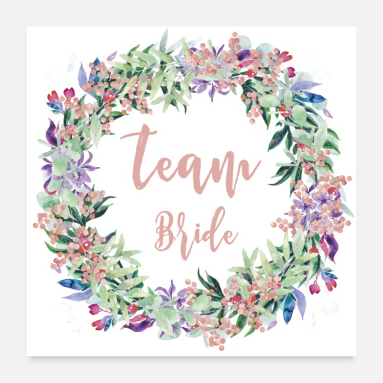 Bruid Posters - Team Bride Floral - Posters wit