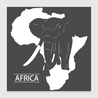 Afrika Elephant Silhouette - Poster 60x60 cm