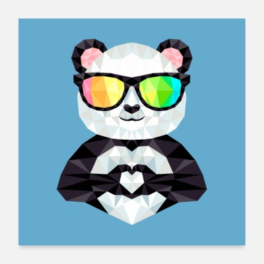 Rainbow Panda With Rainbow Sunglasses Low Poly Style - Poster