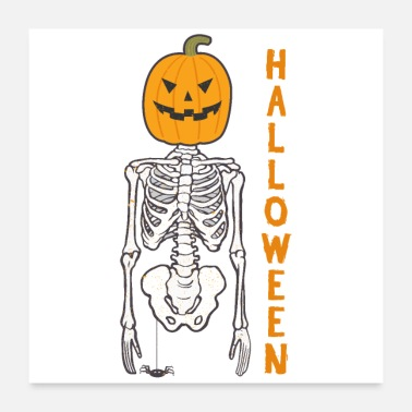 Bone Halloween pumpkin bone skeleton - gift idea - Poster 24 x 24 (60x60 cm)
