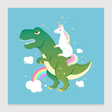 Unicorn Riding on Dinosaurus - Juliste 60x60 cm