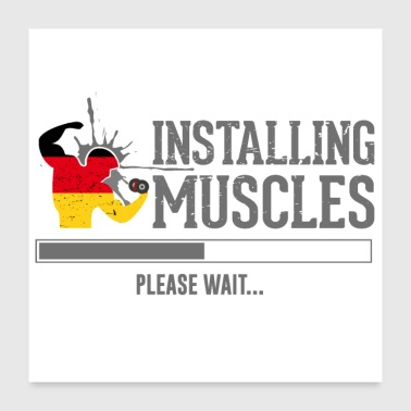 No Pain No Gain Fitness muscles - Poster 24 x 24 (60x60 cm)