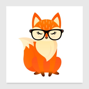 Geek Cute Geek Fox - Poster 60x60 cm