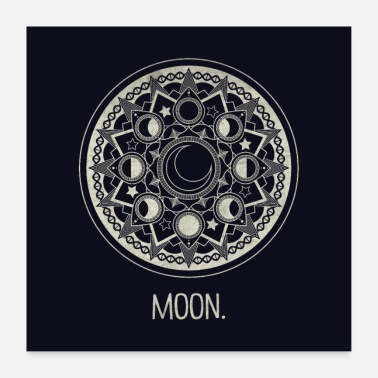 Mandala pale yellow moon. - Poster