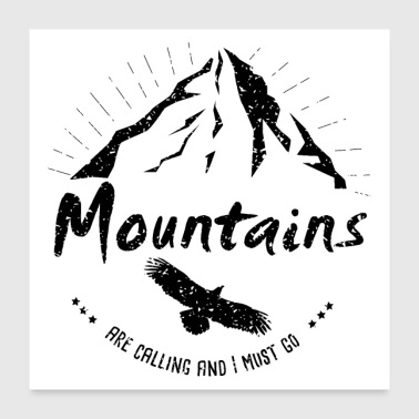 Hiking Wanderlust mountains Adler Freiheit Mountains - Poster 24 x 24 (60x60 cm)