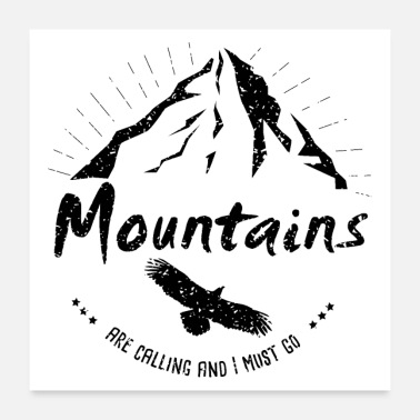 Free Running Hiking Wanderlust mountains Adler Freiheit Mountains - Poster
