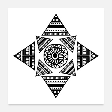 Clan Trunk Shapes Tattoo Triangle Maori Tribe Eyes - Poster 60x60 cm
