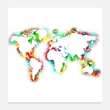 South Africa World map watercolor - Poster 24 x 24 (60x60 cm)