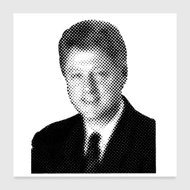 Pixelated Beroemdheden Bill Clinton President USA - Poster 60x60 cm