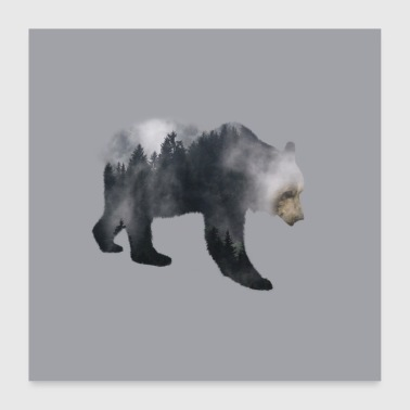 Brown Bear - Forest Double Exposure Effect - Poster 60x60 cm
