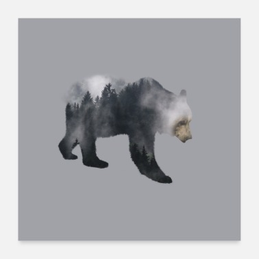 Deluxe Brown Bear - Forest Double Exposure Effect - Poster