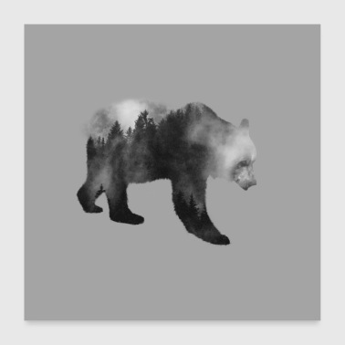 Brown Bear - Forest Double Exposure Effect B / W - Poster 60x60 cm