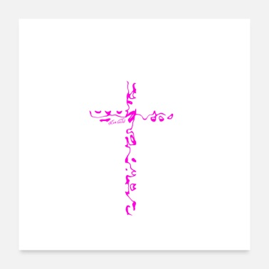 Worship Cross Cross pink - Poster