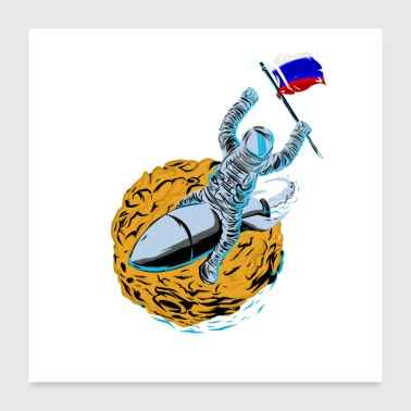 Astronaut Flagge Russland - Poster 60x60 cm