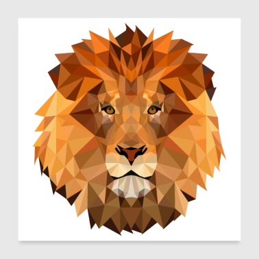 Low Poly Art Lion King of the Beast Krachtig - Poster 60x60 cm