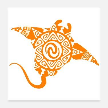 Raies Maori Stingray Skates Tattoo Orange Flottant - Poster 60 x 60 cm