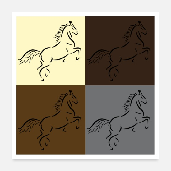 Horse Posters - Horse drawing in pop art style - Posters white