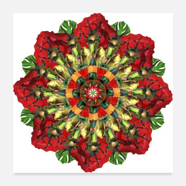 Bug bugs on poppies mandala - Poster 24 x 24 (60x60 cm)