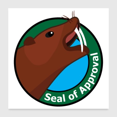 Seal of approval Sea-Elephant Walrus badge Green - Poster 24 x 24 (60x60 cm)