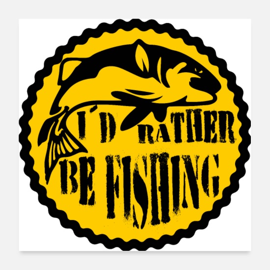 Fishing Rod Posters - Fishing anglers angling fish - Posters white