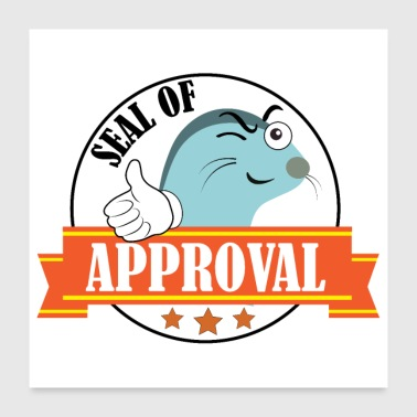 Seal of approval seals badge thumbs up - Poster 24 x 24 (60x60 cm)